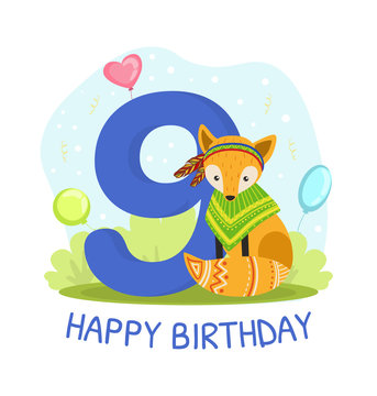 Birthday Anniversary Number and Cute Ethnic Patterned Fox Animal, Card Template for Nine Year Old Vector Illustration