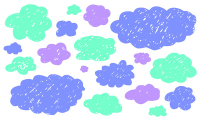 Multicolor hand drawn clouds set. Sketch cloudscape. Vector textured decoration elements
