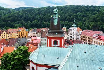 Turm der Kirche Stankt Wenzel in Loket