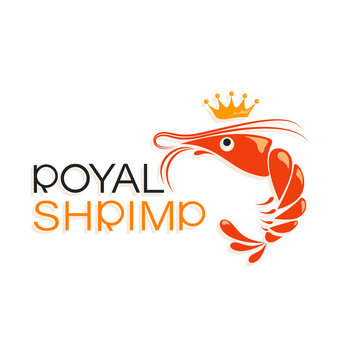 Royal shrimp and crown. Symbol and inscription. Emblem. Logo design and name for the corporate identity of the restaurant, shop, processing plant. The inscription with a shadow on a white background.