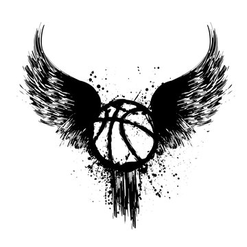Black grunge basketball silhouette with ink splash isolated on white background