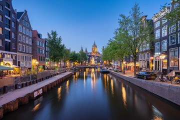 Wall Mural - Amsterdam skyline with Church of Saint Nicholas landmark in Amsterdam city, Netherlands