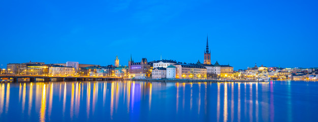 Wall Mural - Stockholm cityscape skyline with view of Gamla Stan at night in Stockholm, Sweden