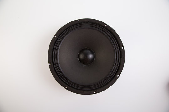 Close up of bare audio speakers on the white background.