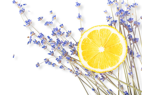 Fresh blue lavender with big lemon slice on white isolated background