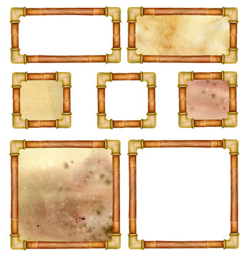 Set of steampunk frames with pipes and with and without backgrounds.  Good for buttons or signs.  Hand drawn illustration.