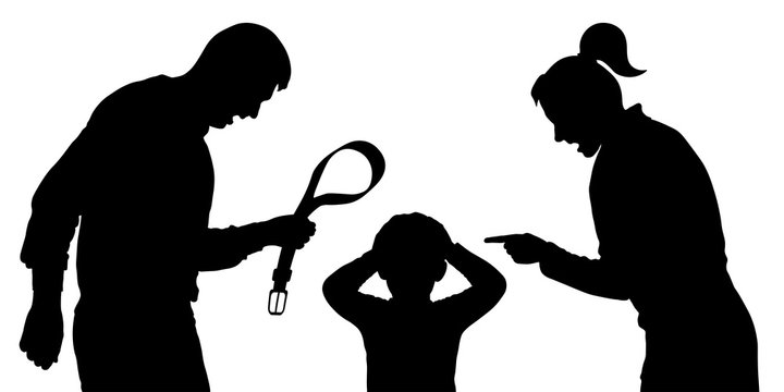 Parents shout at the child at the father in hands a belt. Baby abuse. Parents scold the children. Silhouette vector on white background