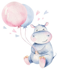 Hand drawn cute isolated tropical summer watercolor hippo animals. hippopotamus baby and mother cartoon animal illustrations, jungle tree, brazil trendy design. Aloha collection.