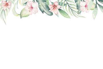 Hand drawn watercolor tropical flower background. Exotic palm leaves, jungle tree, brazil tropic botanical decoration botany elements and flowers. Perfect for fabric design.