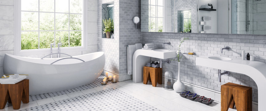 Panorama at an old bathroom after renovation - 3d visualization