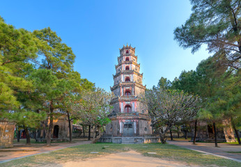Thien Mu Pagoda in Hue City, Vietnam. This is the ancient temples from the 19th century to date and also the spiritual tourist attractions in Hue, Vietnam