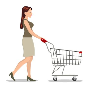 Young woman pushing supermarket shopping cart. isolated on white background. Vector illustration in flat style