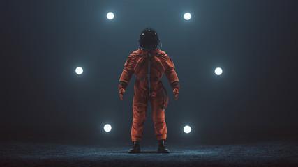 Astronaut in an Orange Advanced Crew Escape Space Suit with Black Visor Standing in a Alien Void 3d illustration 3d render