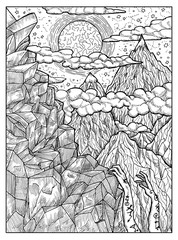 Mountain. Black and white mystic concept for Lenormand oracle tarot card.