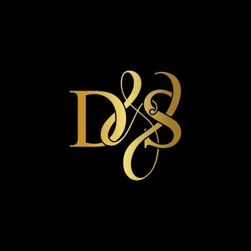 D & S DS logo initial vector mark. Initial letter D & S DS luxury art vector mark logo, gold color on black background.