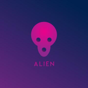 Alien Space Logo Design Template, Pink, Purple, Violet, Dark, Gloomy