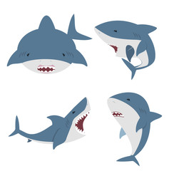 cute flat White shark vector set