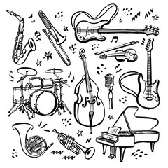 Obraz Hand drawn set of music instruments. Ink style vector illustration on white background. - fototapety do salonu