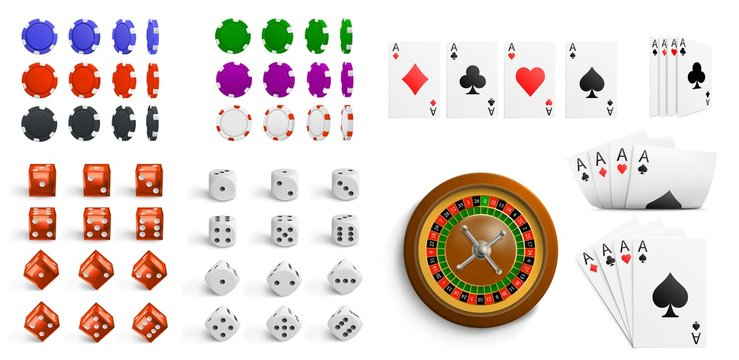 Casino design elements. Icon set include white and red dice, roulette, cards, poker chips (black,green,red,blue,violet). Isolated vector illustration.