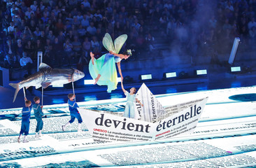 Artists perform during a dress rehearsal of the Fete des Vignerons in Vevey