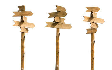 isolated image of wooden signposts on a white background close-up