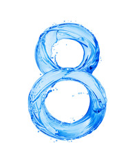 Fototapete - Number 8 made with water splashes, isolated on a white background