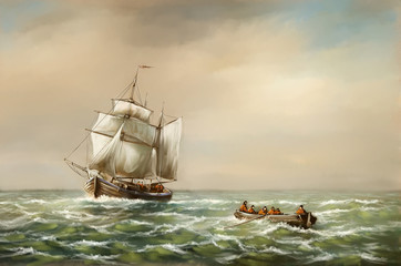 Fotorolgordijn Schip Oil paintings landscape, fine art, fishermen, old ship in the sea. Fine art.