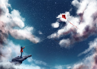 Girl standing on mountain top, flying a kite - Dreamy Fantasy concept