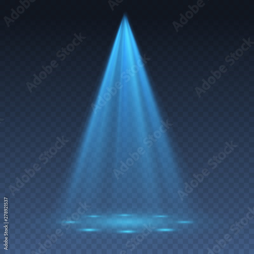 Blue projector effect isolated on transparent background