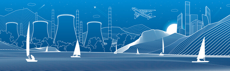 Outline illustration. View from sea to night city in mountains. Power Plant on the river bank. Yachts on water. White lines on blue background. Vector design town panorama