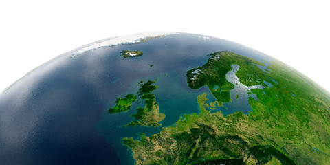 Detailed Earth on white background. United Kingdom and the North Sea Wall mural