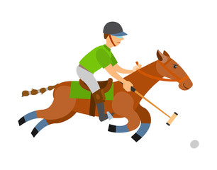 Fotobehang Pony Man on horse holding stick, hitting ball on speed isolated. Vector polo player, equine sports on stallion. English horseback mounted team sport cartoon style