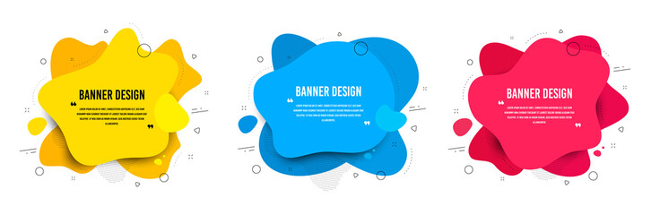Abstract vector banners. Geometric liquid forms. Template bagdes. Modern design. Dynamic fluid banners shapes. Minimal curvy design. Various colors modern template. Text with quotes. Vector shapes Fotobehang