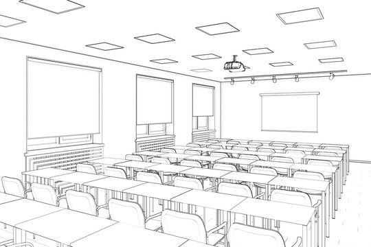 3d illustration. Sketch of the conference hall.
