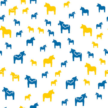 Seamless pattern with Dala horse in Swedish flag colors, simple design vector illustration