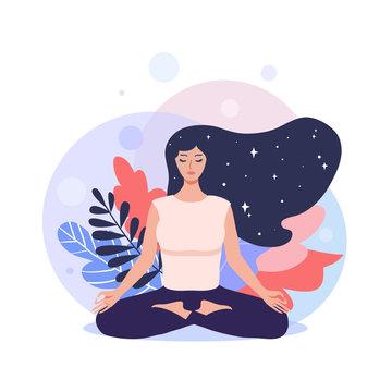 Meditation concept. Pretty yoga woman in lotus pose.  Vector illustration.