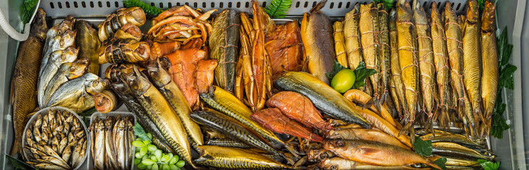 smoked fish in market Wall mural