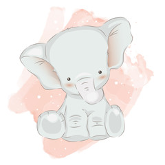 adorable elephant illustration for personal project,background, invitation, wallpaper and many more