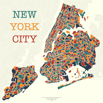 New York city map different colors and sample text