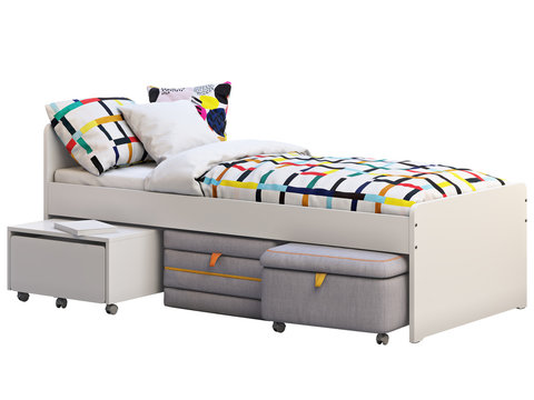 White single children's bed with storage and padded stool. 3d render