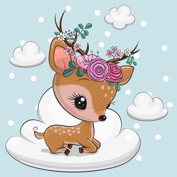 Cartoon baby Deer is lying on the cloud