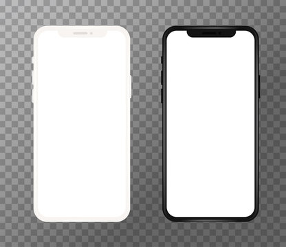 Realistic white and black mobile phone