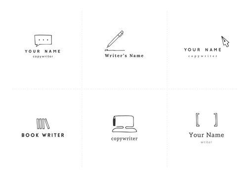Vector set of hand drawn logo templates. Writing, copywrite and publishing theme.