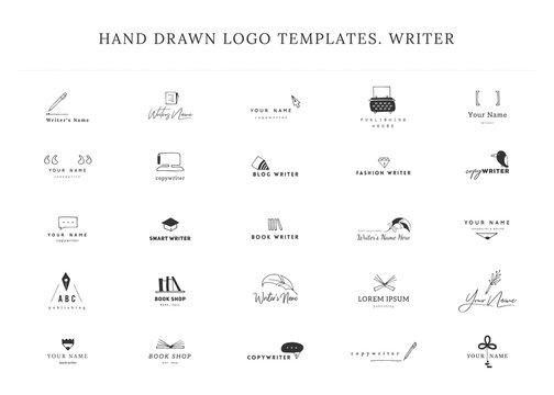Writing, publishing and copywrite theme. Set of hand drawn vector logo templates.