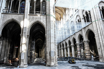 A picture shows damage on the nave and rubble during preliminary work in the Notre-Dame Cathedral, three months after a major fire, in Paris