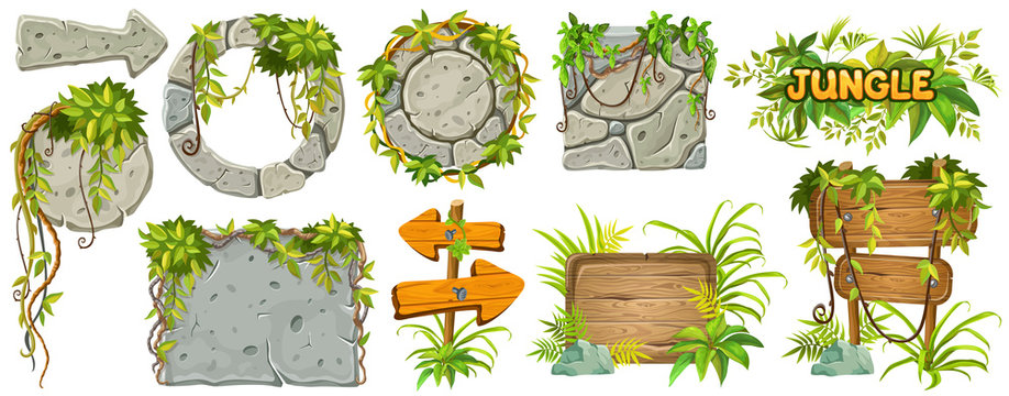 Set cartoon game wooden and stone boards in jungle style with space for text. Isolated gui panels with tropical lianas and rocks. Vector illustration on white background.