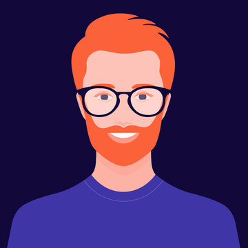 Portrait of a European man with red hair. Avatar of a bearded guy with glasses. Happy face. Vector flat illustration