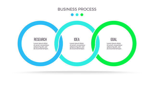 Business process. Infographic with 3 steps, options, circles. Vector template.