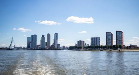 Foto auf Leinwand Rotterdam Cityscape and Erasmus bridge, sunny day. Rotterdam, Netherlands.