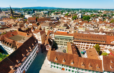Basel cityscape with Elisabethenkirche bell tower Switzerland